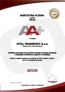 Certificate - A+ rating